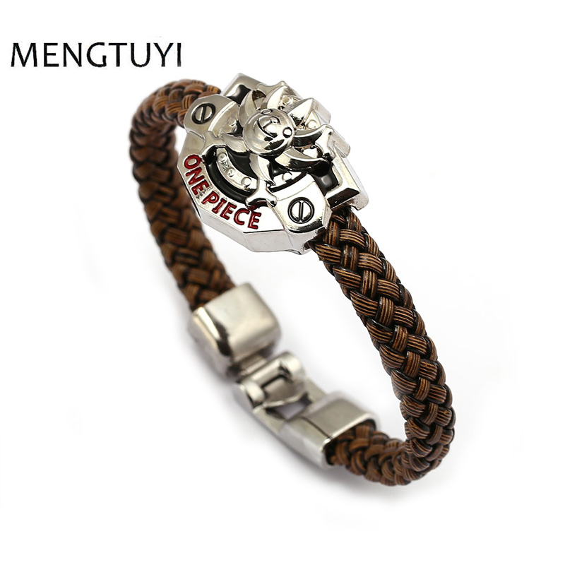 J Store One Piece THOUSAND SUNNY bracelet cosplay jewelry Braid leather bracelets men je ...
