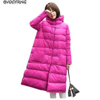 Winter New Women Coat Long Down Jacket Loose Parka Hooded Big Yards High Quality White Duck Down Girls Jacket Outerwear Q830