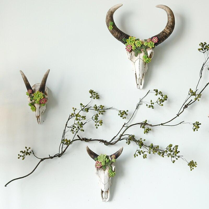 미국 복고풍 벽 장식 크리 에이 티브 사슴 두개골 장식 벽 장식 절묘한 선물 벽 장식-에서피규어 & 미니어처부터 홈 & 가든 의  그룹 3