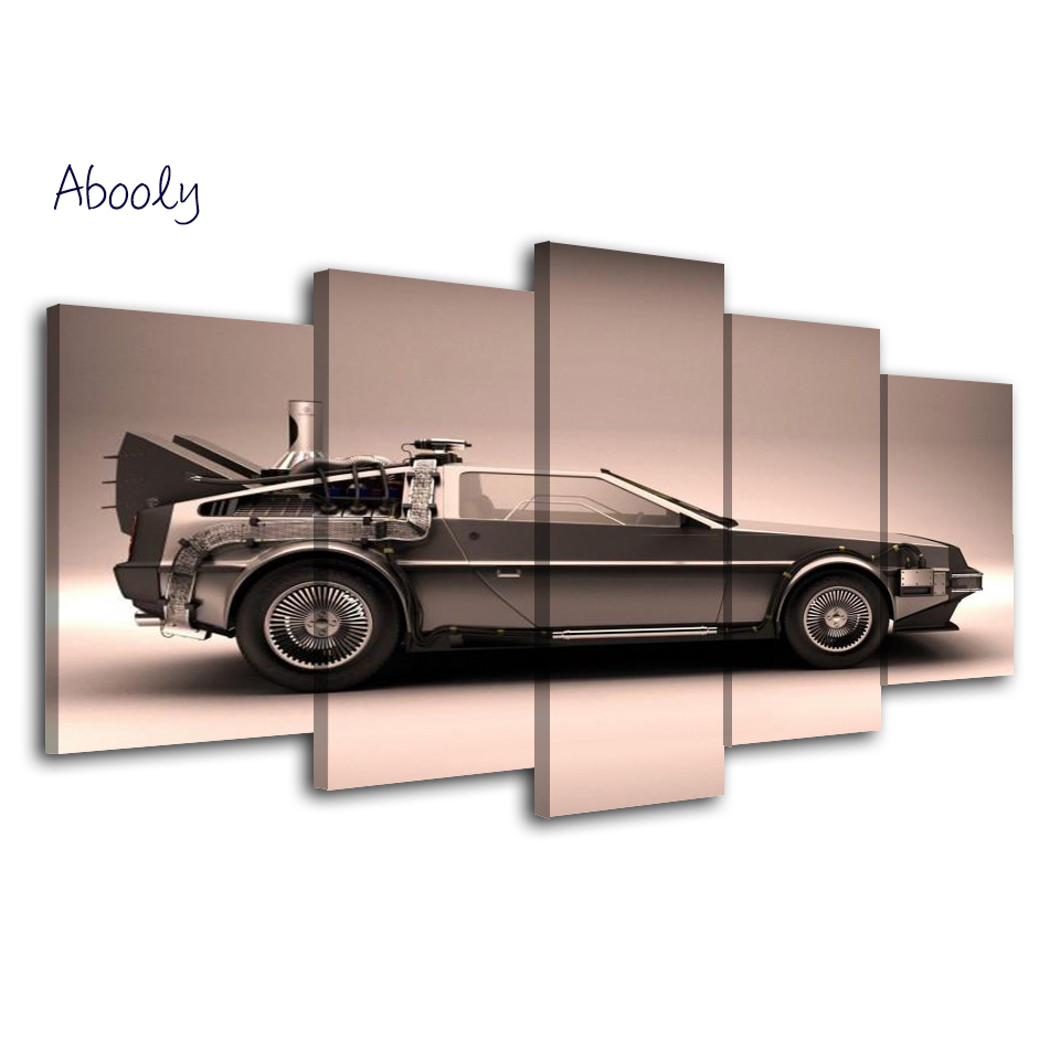 5Piece Picture For Living Room Cuadro Decor Wall Canvas Printed Art Car Wall Picture Back To Future Movie Poster Painting
