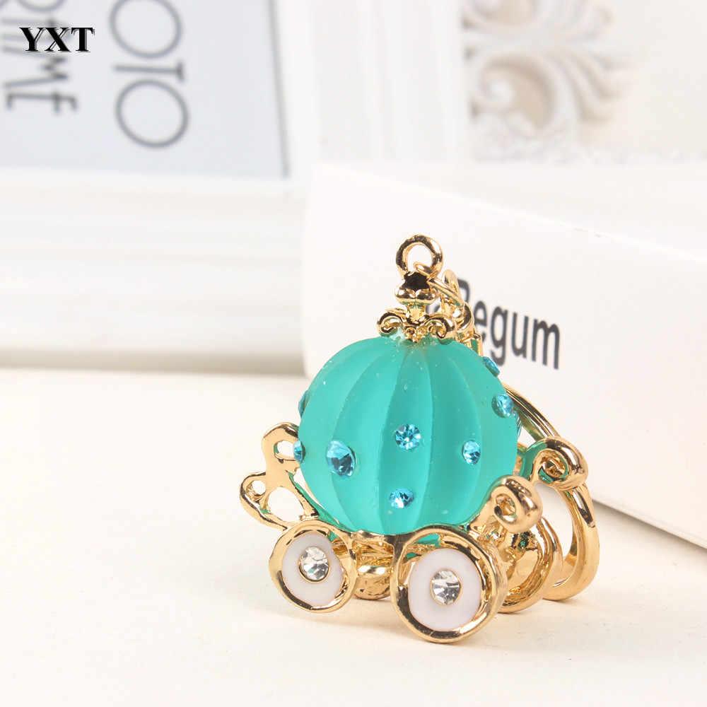 Calabaza carro creativo resina cristal encanto colgante bolso coche llavero cadena encantadora joyería accesorios boda regalo