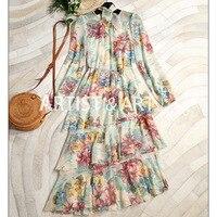 100% Pure Silk Dresses 2018 Autumn Designer Brand Long Sleeve Floral Printed Ruffles Pleated Long Runway Dress + Lining