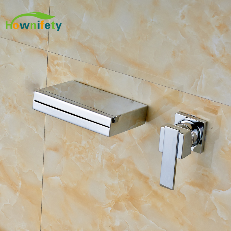 Soild Brass Bathroom Sink Faucet Single Handle Waterfall Spout Bathtub Mixer Tap Chrome soild brass bathroom sink faucet single handle waterfall spout bathtub mixer tap chrome