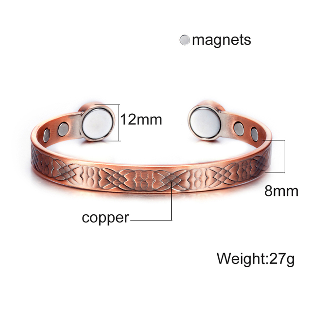Pure Copper Open Cuff Adjustable Big Magnet Health Energy Magnetic Bracelet