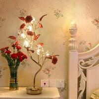 Свет стол Спальня тумбочка лампа свадебные подарки красных роз творческий декоративные кристалл настольные лампы вилла гостиничный номер