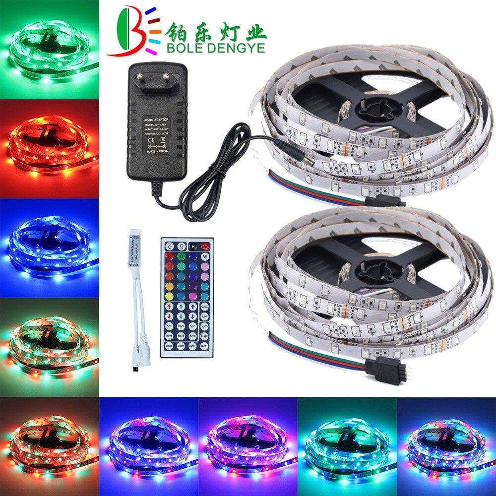 5M 10M LED Light Strip 12V SMD 2835 Flexible RGB Tape Ribbon Multicolor Rope String Lamp+RGB LED Controller+12V Power Adapter