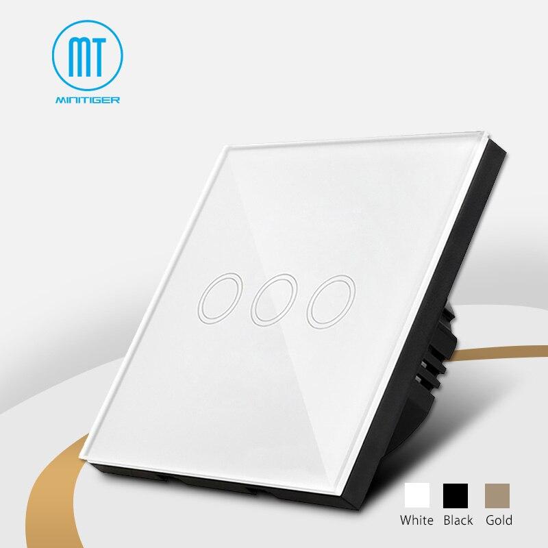 Interruptor táctil estándar de la UE 3 Gang 1 Way Blanco/Negro/dorado, interruptor del panel de cristal, resistente al agua y duradero, Interruptor táctil de la luz de pared