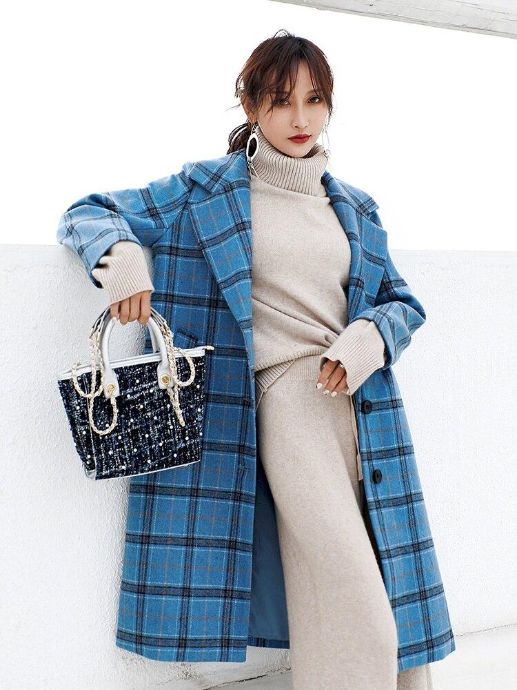 De Femme Femmes En Dame Veste Laine D'extérieur Bleu Manteaux 2019 Épaissir Mélanges Manteau Vêtements coffe Nouveau Mode Chauds Café D'automne D'hiver Bleu dqxE0X6w