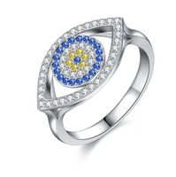 925 Sterling Silver Blue Evil Eye Ring for Women Cubic Zirconia Female Ring with Eye Jewellery Gifts for the New Year Decorating