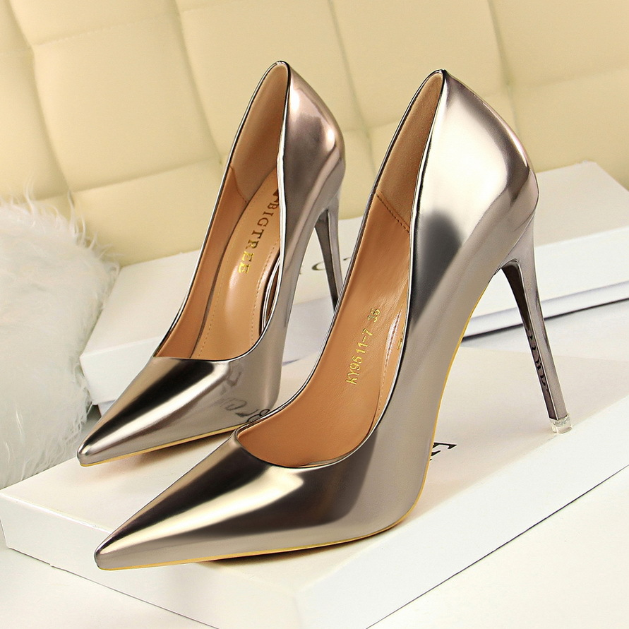 Pointed Toe Women Pumps Bigtree Shoes Sexy High Heels Shoes Gold Silver Patent Leather Women Wedding Shoes Heels Women Footwear