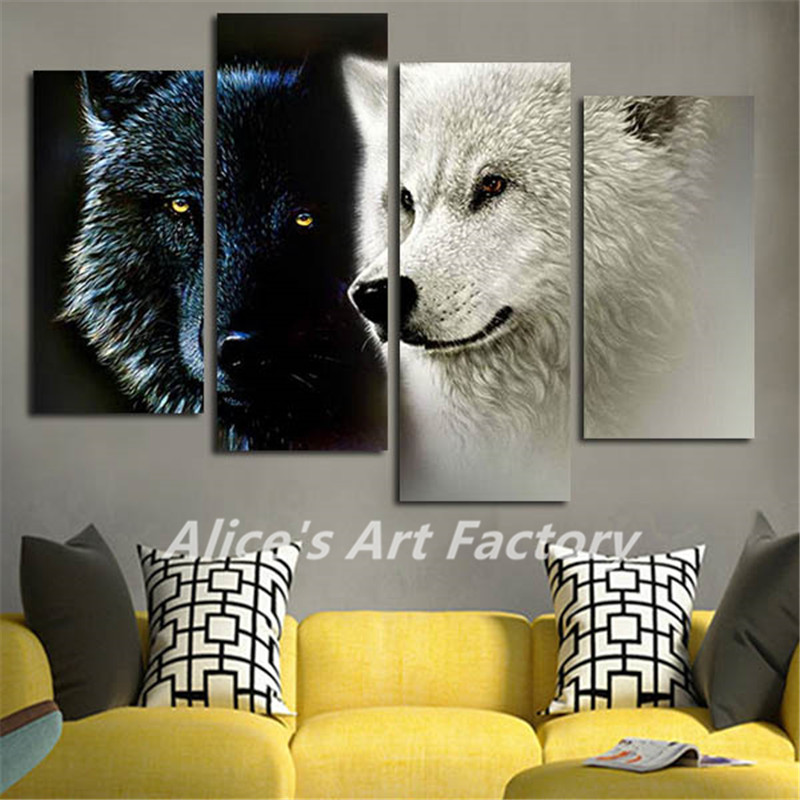 4 Piece Big Wall Art Picture Black And White Two Wolf