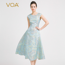 VOA Europe stamp sleeveless embroidered silk dress slim simple stitching midi dresses A6916