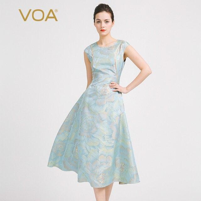 2c2ef4fdb7d67 VOA 2018 Summer Silk Jacquard Vintage Embroidered Women Dress Fashion Plus  Size Slim Silver Grey Luxury A-line Dresses A6916