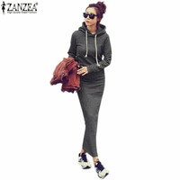 2015 Autumn Winter Women Black Gray Sweater Dress Warm Fur Fleece Hoodies Long Sleeve Slim Maxi