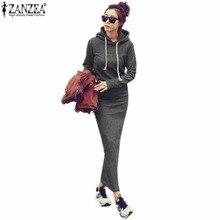 ZANZEA 2018 осень-зима женский, черный Платья-свитеры Обувь на теплом меху Флисовые толстовки с длинным рукавом Макси Длинные Платья Vestidos Femininas
