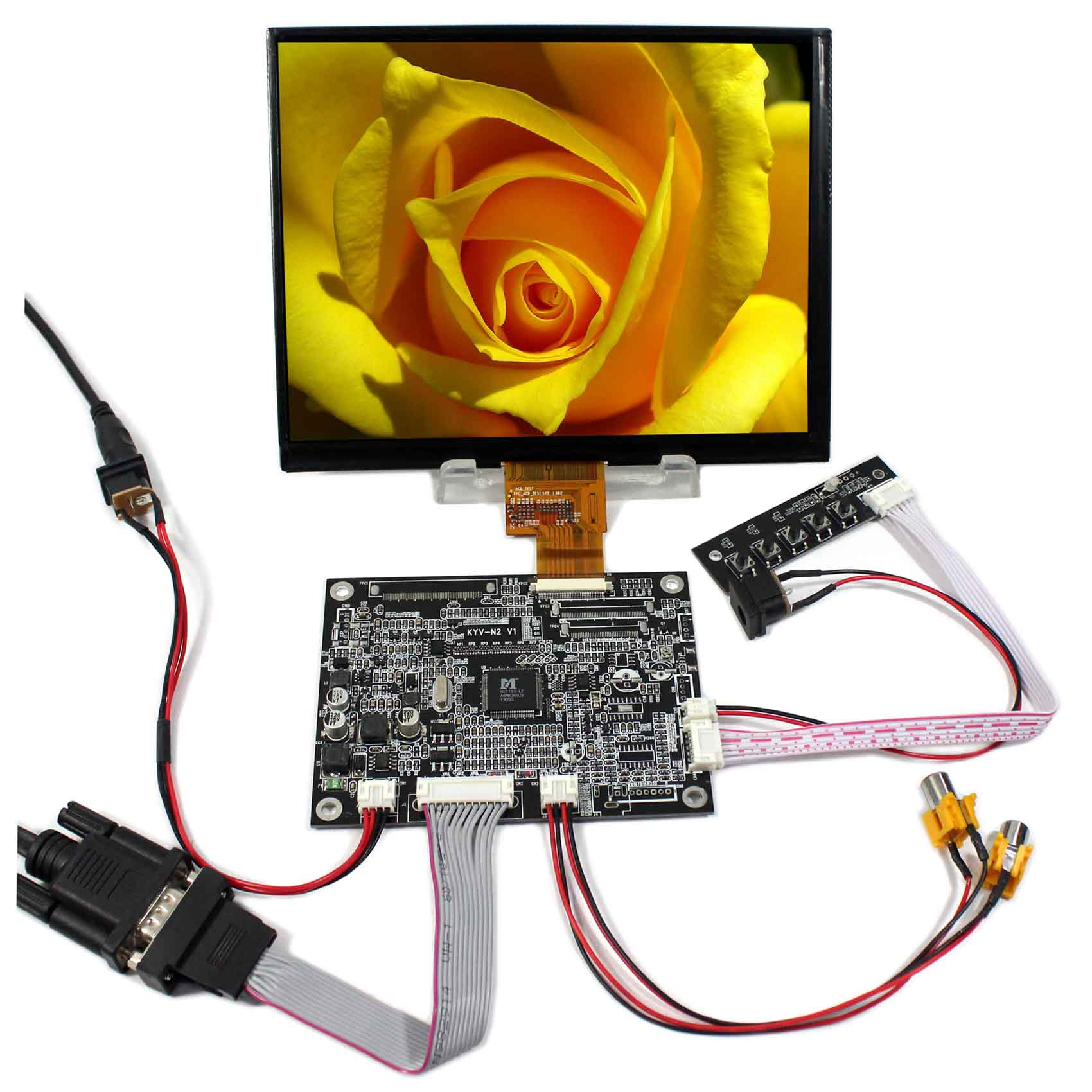 VGA 2AV Reversing LCD Controller Board+8inch HJ080IA-01E 1024x768 IPS LCD Screen hdmi vga av audio usb control board 8inch hj080ia 01e 1024 768 ips lcd panel screen model lcd for raspberry pi
