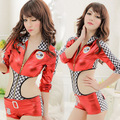 Free Shipping Girls Sexy Imitation Leather Car Racing Driver Costumes Lingerie Cheerleader Sexy BodySuit Costumes