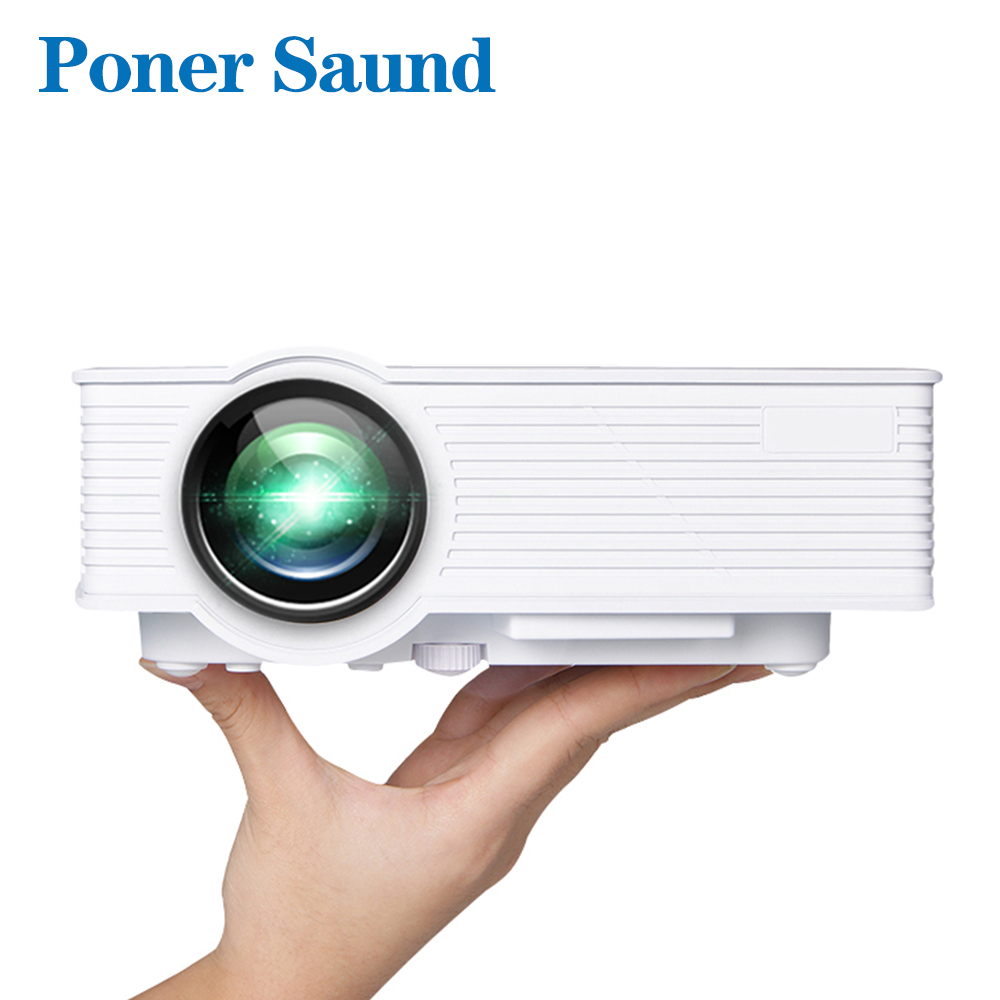 Poner Saund GP9 Mini Projector Wired Sync Display for Home Theater without WIFI More Practical HDMI VGA USB SD & 3.5mm Earphone poner saund lcd gp12 led mini projector for home theater support full hd 1080p hdmi usb sd