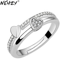 NEHZY-Anillo de plata de primera ley y circón para mujer, sortija ajustable, plata esterlina 925, Circonia cúbica, zirconia, circonita, zirconita, forma de corazón, asimétrico