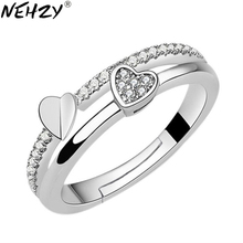 Adjustable Ring Jewelry Opening NEHZY 925-Sterling-Silver Cubic-Zirconia Woman Heart-Shaped
