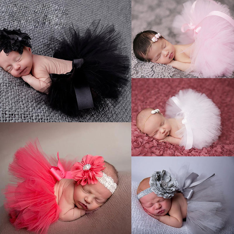 2018 1Set Lovely Newborn Baby Toddler Girls Hairband Tutu Skirt Photo Prop Costume Outfit Cute Baby Kids Child Gifts