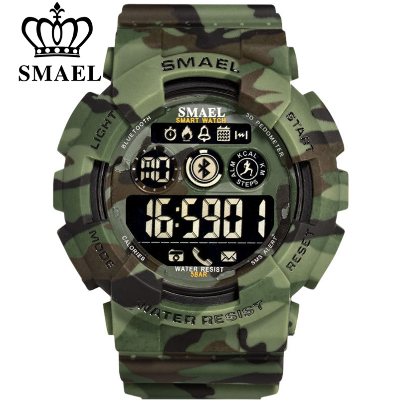 SMAEL Smart Watch Men Bluetooth Pedometer Stopwatch Military Army Camouflage Wrist Watch LED Digital Watches For Boy Smartwatch