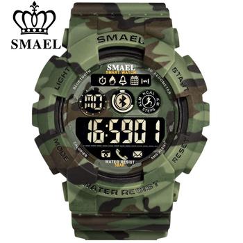 SMAEL zegarki sportowe męskie zegarki cyfrowe zegarki na rękę mężczyzna chronografu wojskowe armii kamuflaż zegarek na rękę wyświetlacz LED zegarki dla mężczyzn tanie i dobre opinie 22cm Cyfrowy Z tworzywa sztucznego Klamra 5Bar 17mm Okrągły 21mm SL-8013 Nie pakiet 53mm Silikon Hardlex Stoper Podświetlenie