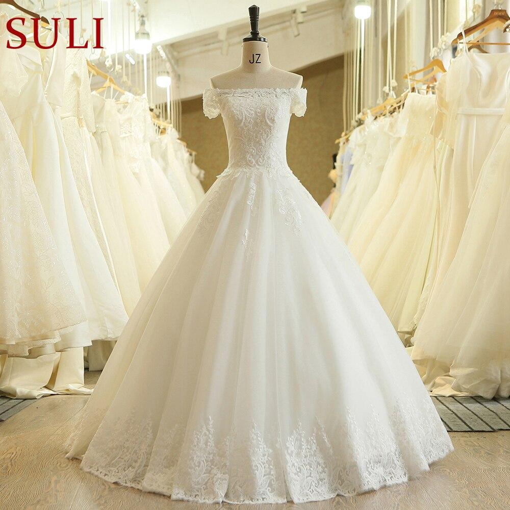 SL-541 Vintage Beads Lace Off Shoulder Boat Neck Bridal Gown Wedding Dress 2019(China)