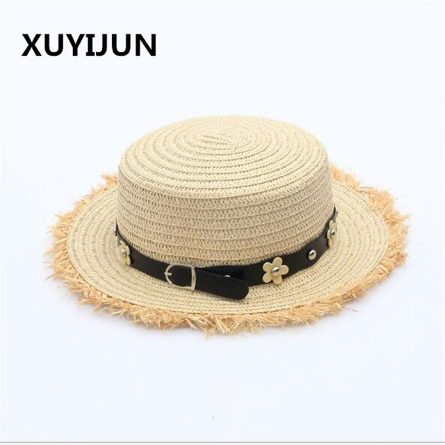 566970a7caa Xuyijun Flat top straw hat Summer Spring women s trip caps leisure beach  sun hats for women breathable fashion flower