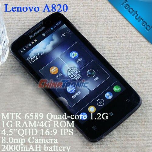 """Original Lenovo A820 Multi-language MTK6589 Quad-core Android 4.1 Dual-SIM WCDMA 4.5""""IPS 1GB RAM+4GB ROM White/Black Free Gift"""