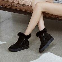 GEMEIQ Genuine leather nubuck furring short snow boots for women 2018 winter new middle heel Platform Shoes