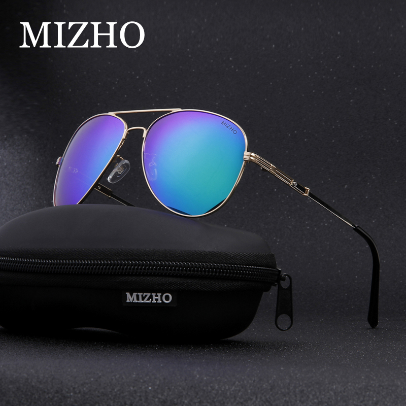 MIZHO Brand Design BROWN Stainless Steel Retro Sunglasses Men Polarized Pilot Traveling Luxury UV400 SUN Glasses Ladies Driving