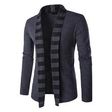 Neuheiten 2017 Mode Herren Pullover Langarm Strickjacke Gestreiften Kragen Männlichen Knited Pullover Männer Casual Slim Fit Herrenbekleidung