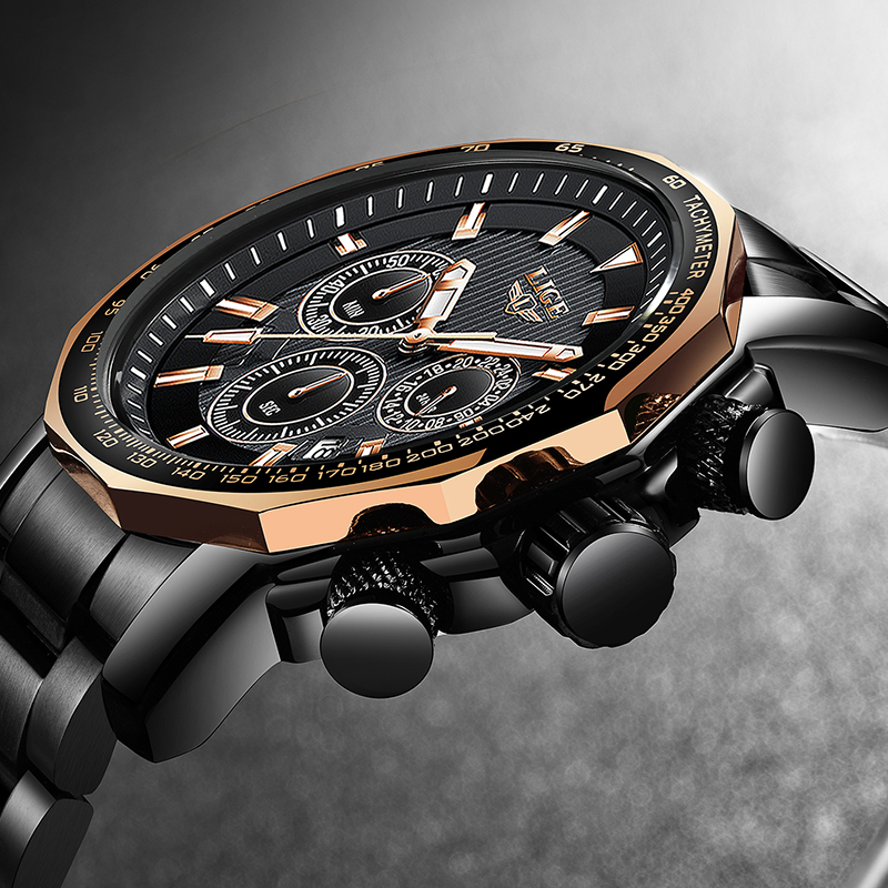 Men Watches LIGE Top Brand Luxury Business Chronograph Watch Casual Quartz Watch Men Waterproof Military Watch Relogio Masculino in Quartz Watches from Watches