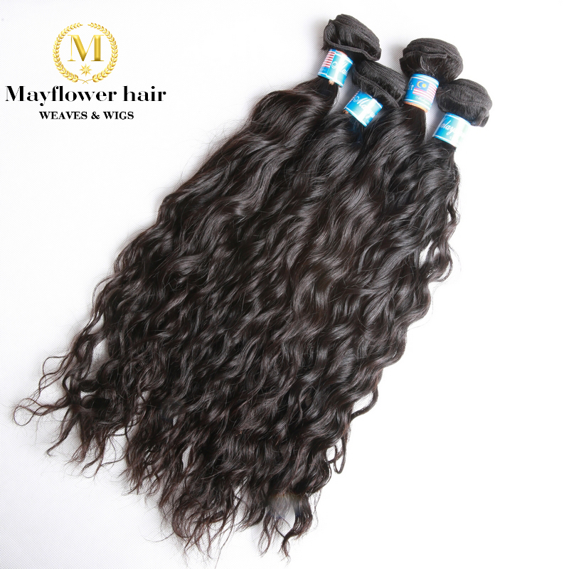 Mayflower 1/2/3/4 bundles 100% Unprocessed Malaysian Raw virgin hair Water wave natural color from 12-24