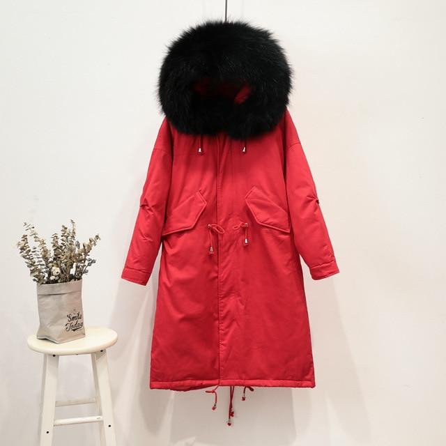 NewBang Brand Real Fur Coat Women's Hooded Down Coat Female Long Down Coat Winter Loose Warm Duck Jackets Parka Women Overcoats