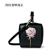 New 2017 Women Leather Vivid Roses printed Evening bag Luxury Handbag Famous Brand Female Flower Tote Evening bag