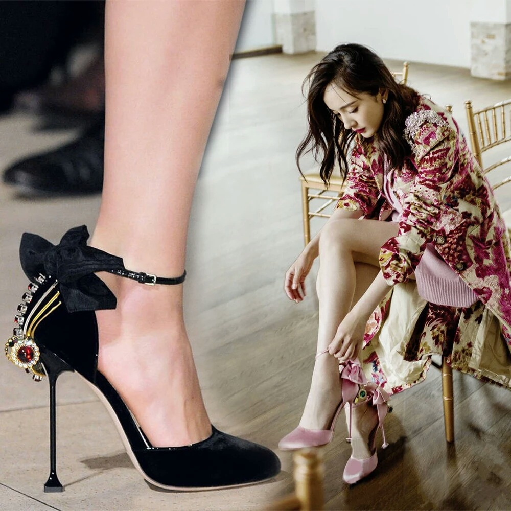 2017 spring and summer new ultra high heels female leather Baotou diamond bow shoes tide 2017 new spring