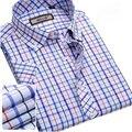 2016 Plaid Stripe Printed Men's Short Sleeve Shirts Dress Summer Male Casual Slim Fit Shirts Men Shirt WS08