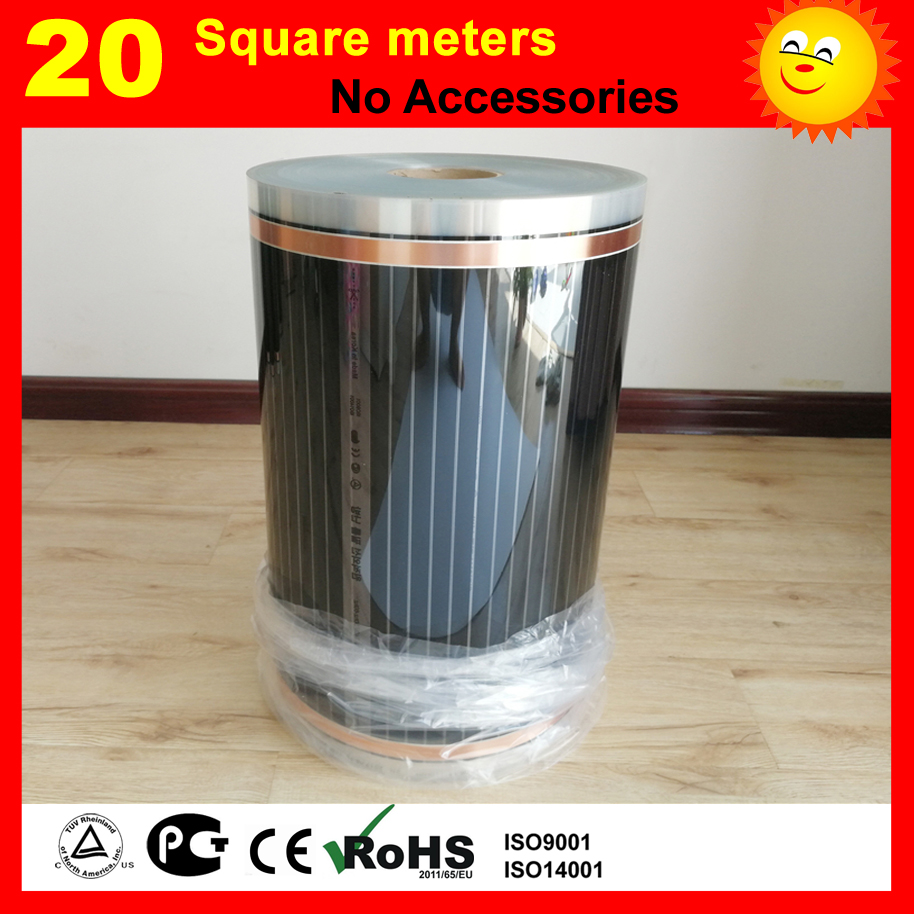 20 metro quadrato di Riscaldamento a pavimento film (Senza accessori), AC220V lontano infrarosso film di riscaldamento 50 cm x 40 m