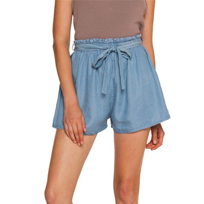 Estilo de Moda Shorts de Cintura Short de Praia Mulheres Novo Moda Lady Sexy Verão Casuais Alta Calções Arco Uma Hot
