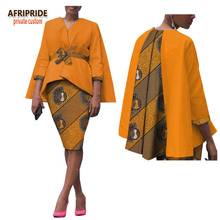 2019 africa 2-piece skirt set for women AFRIPRIDE none button top with sashes+knee length pencil casual A1826028