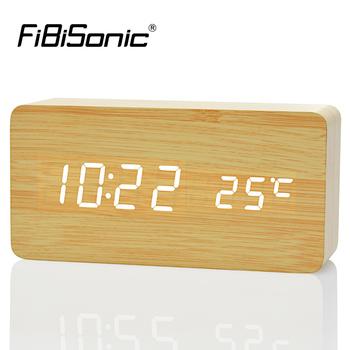 2020 najlepsze wysokiej klasy zegary termometr zegar z budzikiem led cyfrowy zegar głosowy 13 kolorów zegar cyfrowy bateria zasilanie USB tanie i dobre opinie FiBiSonic Bambusowe i drewniane Luminova Antique style 1299 Skoki ruch Kontrola akustyczna sensing 40mm DIGITAL 6 cal Kreatywny