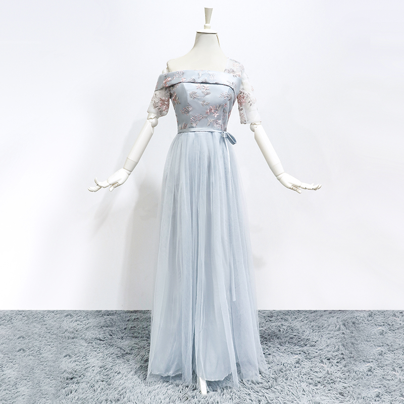 Bridesmaids Dresses Elegant Long Bridesmaid Dresses Wholesale Wedding Guest Dress One Shoulder Long Floor Length Bule Grey Color