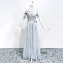 Bridesmaids Dresses Elegant Long Bridesmaid Wholesale Wedding Guest Dress One Shoulder Floor Length Bule Grey Color
