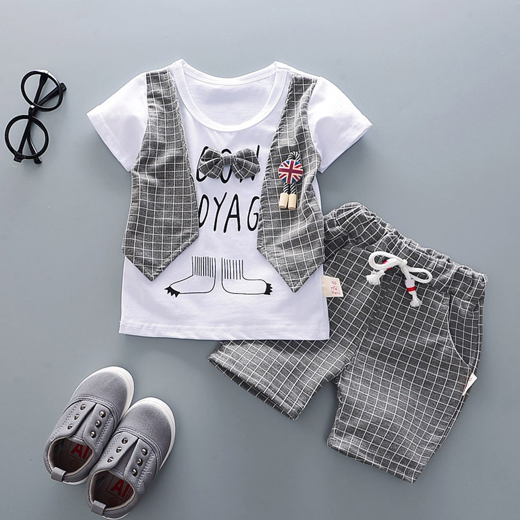 Toddler Baby Boys Gentleman Bow T-shirt Tops Shorts Pants Outfits Clothes Summer Outfits Set Patchwork Chic Clothing Set Set(China)