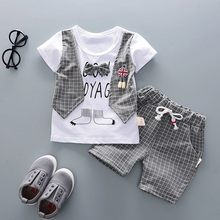 Children Clothes Boy Summer Children Boy Kids Gentleman Bow O-Neck Short Sleeve T-shirt Tops Shorts Pants Outfits Clothes Set(China)