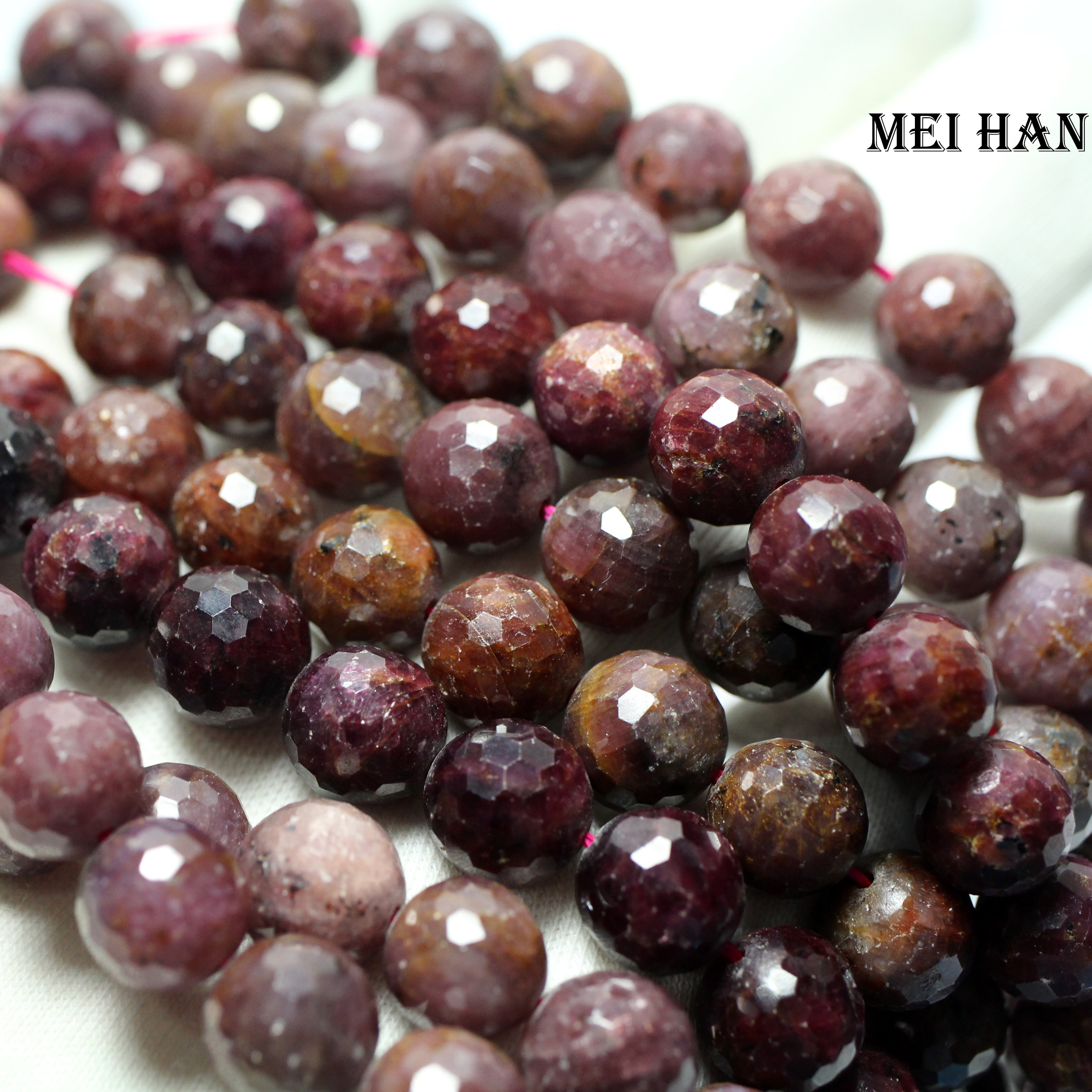 Wholesale 9 5 10 5mm 37 beads set 77g natural Myanmar ru by faceted round loose