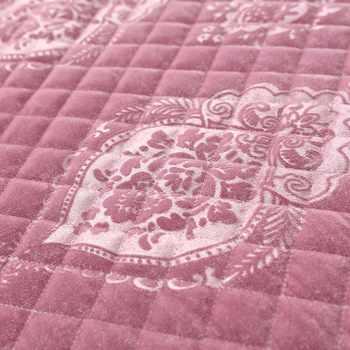 Famvotar กำมะหยี่หรูหราเพชร Quilted ผ้าคลุมเตียงลายนูน Ruffle เตียงชุดผ้านวม 245X245 ซม. 3 ชิ้น Queen ขนาดสีชมพู