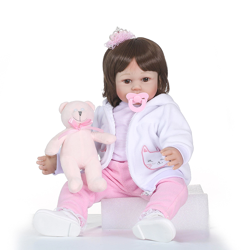 Nicery 23-24inch 58-60cm Bebe Reborn Doll Soft Silicone Boy Girl Toy Reborn Baby Doll Gift for Children White Coat Pink Bear nicery 18inch 45cm reborn baby doll magnetic mouth soft silicone lifelike girl toy gift for children christmas pink hat close